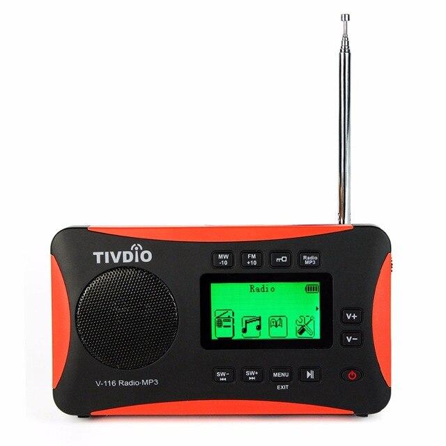 TIVDIO V-116 Portable Radio FM MW SW Multiband Radio Receiver MP3 Player DSP Shortwave Transistor Sleep Timer Alarm Clock F9206A