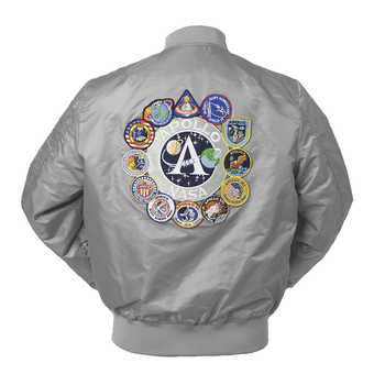 2018 New Autumn Apollo Thin 100th SPACE SHUTTLE MISSION Thin MA1 Bomber Hiphop US Air Force Pilot Flight College Jacket For Men - DISCOUNT ITEM  40% OFF All Category