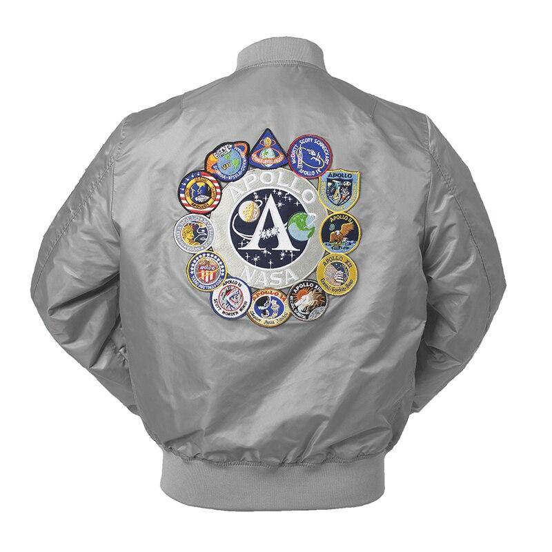 2018 Nouveau Automne Apollo Mince 100th NAVETTE SPATIALE MISSION Mince MA1 Bomber Hiphop US Air Force Pilot Vol Collège Veste pour Hommes