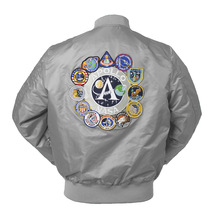 2020 New Autumn Apollo Thin 100th SPACE SHUTTLE MISSION Thin MA1 Bomber Hiphop US Air Force Pilot Flight College Jacket For Men