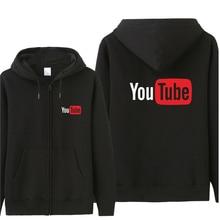 Sweat shirt dautomne sweats à capuche imprimés pour hommes, veste et manteau en coton, avec fermeture éclair, Logo Youtube amusant