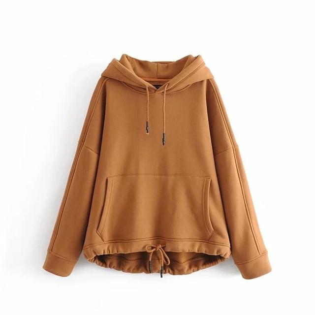 YOCALOR Women Harajuku Cotton Hoodies Solid Patchwork Pockets Regular Oversize Sweatshirt Plus Size Tops Hoodies 5