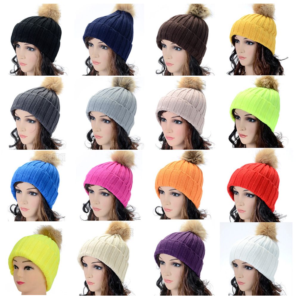 Women Ladies Warm Fur Knitted Winter Ski Beanie Hat Pom Bobble Baggy Crochet Cap HATBD0008