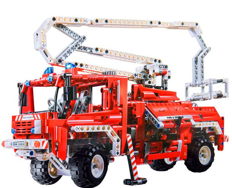 Decool 3323 1036pcs Fire Truck building blocks Toys for children Game Model Car Gift Lorry Compatible with 8289 lepin