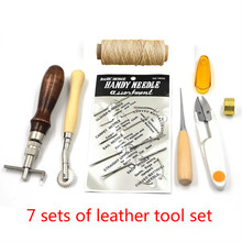 7 pcs DIY hand Tools Leather Craft Hand Sewing Stitching Carving Work Tool Set Kit Punch 18pcs leather punching tool set stitching carving knife peeling knife straightening machine grinding polishing sewing diy tool