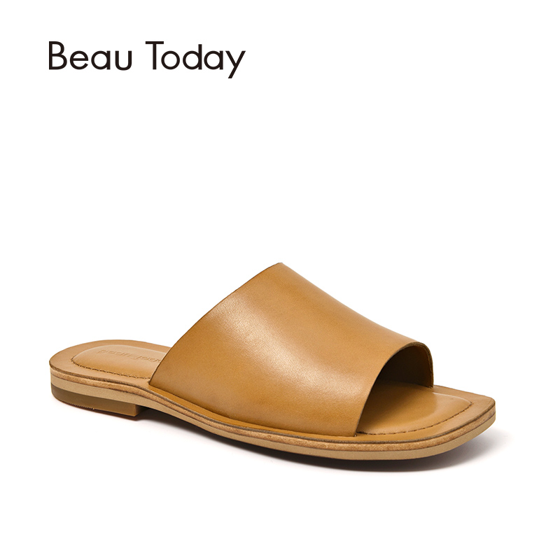 BeauToday Summer Slippers Top Brand New Genuine Leather Women Casual Flat Shoes Handmade 36050