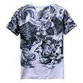 Estilo nacional chinesa tatuagens de dragão retro impressão camisa de manga curta t Verão nova chegada camiseta de algodão de qualidade dos homens M-XXXL