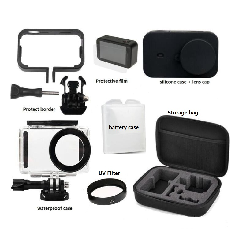 Mijia Accessories 4K Mini Camera Waterproof Housing Battery Case Frame Cover Silicone Shell Lens Cap UV Filter Film For Xiaomi