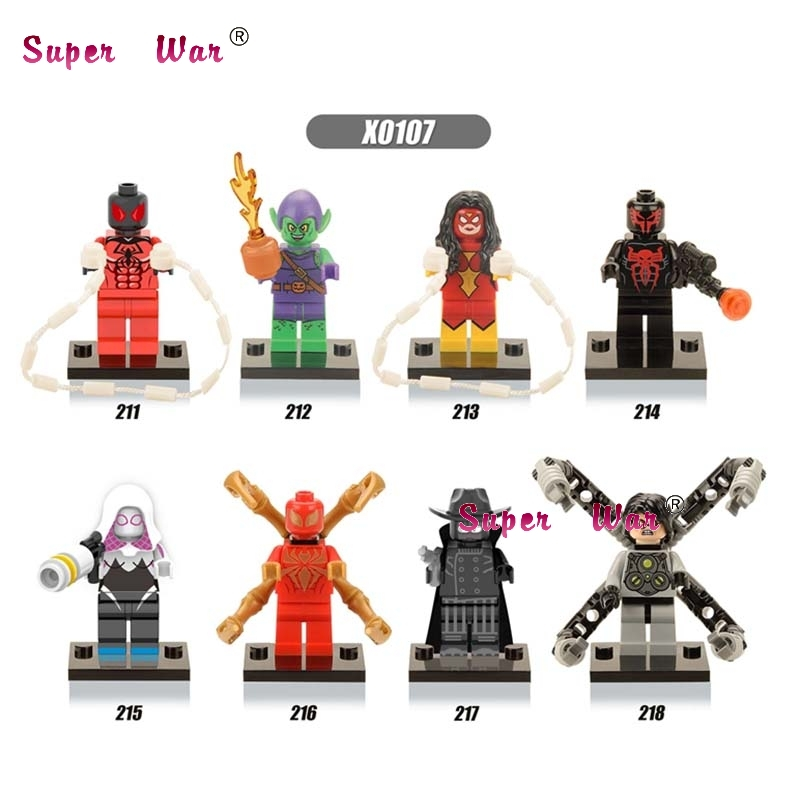 Blocks Capable 8pcs Star Wars Super Heroes Marvel Iron Spider Man Woman Gwen Green Goblin Building Blocks Model Bricks Toys For Children Catalogues Will Be Sent Upon Request