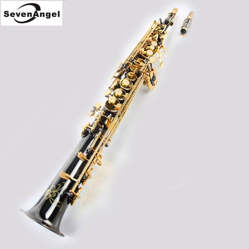 Saxofone Soprano Bb Vento Instrumento saxofone Soprano saxofon Sax Instrumentos Ocidentais Preto Instrumentos Musicais preto saxofon