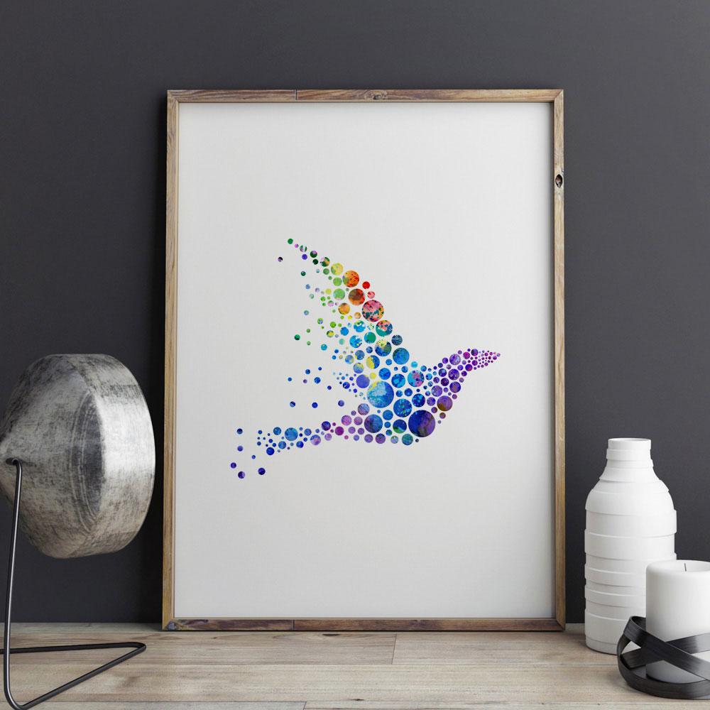 4317ba007 مجردة بلوسيركل الطيور المائية اللوحة ملصق جدار الفن ديكور منزلي الحيوان  جدار شنقا دائرة الفن صور هدية e329