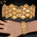 U7 Wide Bracelet Gold Plated Rhinestone Jewelry Trendy Geometric 21cm 25 MM Link Chain Bracelet Wholesale H541