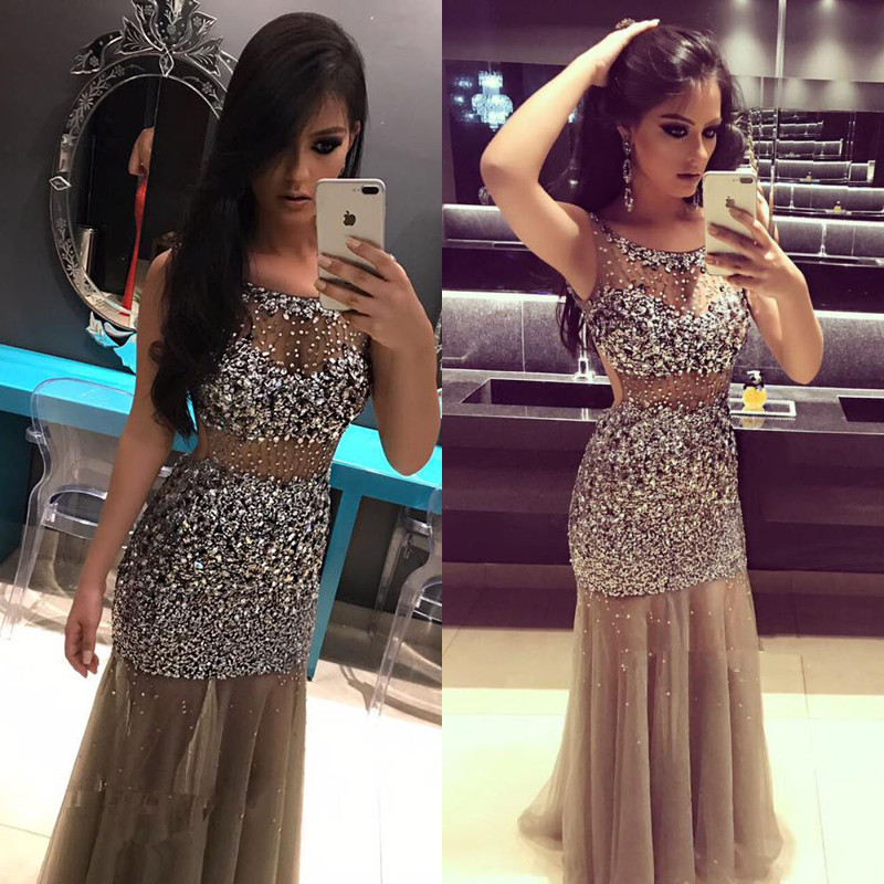 New Fashion Beaded Crystal Mermaid   Prom     Dresses   2019 Vestidos De Gala Sexy Backless Sheer Sparkly Formal Evening   Dress   Party