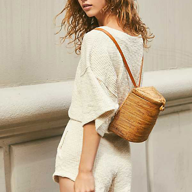 Hot Bali New Handmade Rattan Woven Backpack Luxury Brand Bohemian Straw Shoulder Bag Fashion Retro Beach Bag Travel Holiday Bag