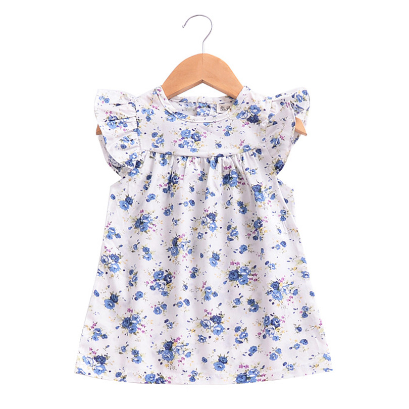 Baby Girls Dress Summer Beach Style Ruffles Sleeve Dresses For Girls Vintage Toddler Girl Clothing 1-5Yrs 2018 Bobo Infant Kids ems dhl free shipping toddler little girl s 2017 princess ruffles layers sleeveless lace dress summer style suspender