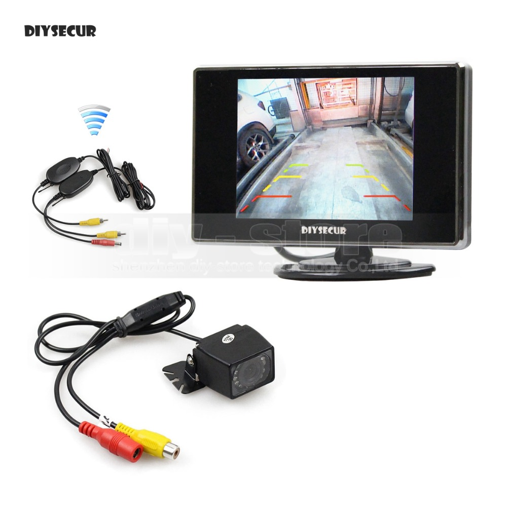 DIYSECUR Wireless 3.5 inch TFT LCD Car Monitor Rear View Car Camera Reversing Parking Assistance System