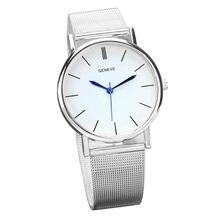 ab3f58e37d1 Genebra casuais Relógio de Aço Inoxidável Banda de Pulso de Quartzo da  Forma das Mulheres Relógios Das Mulheres Dos Homens Relóg.