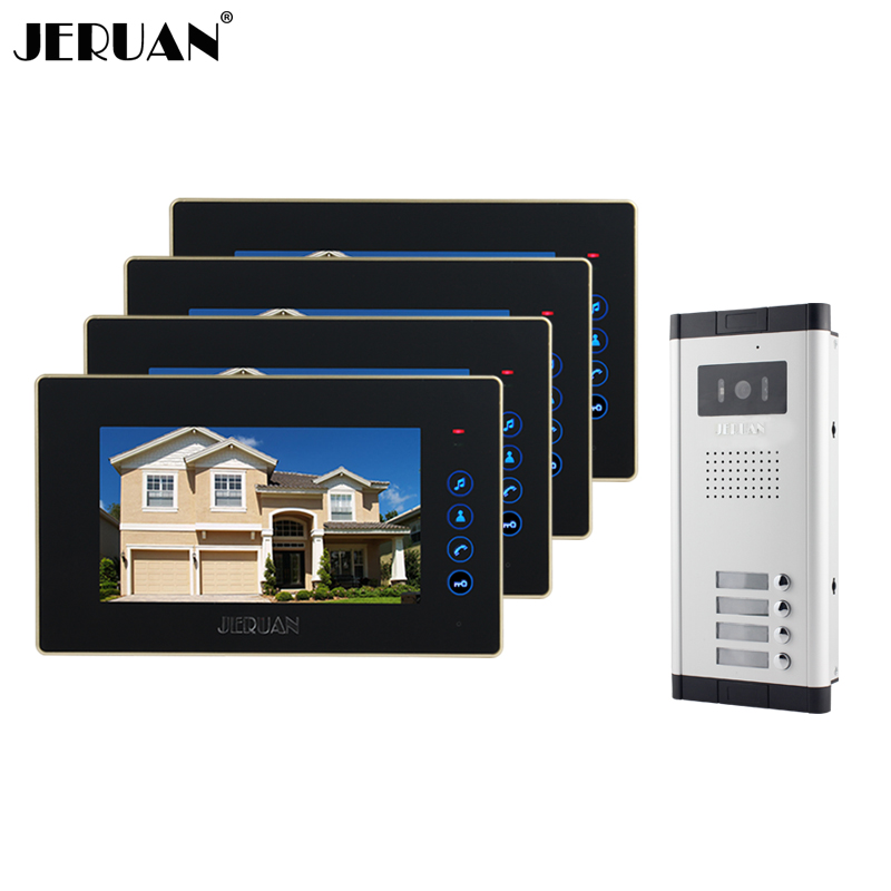 JERUAN Brand New Apartment Intercom 7 inch LCD Touchkey Video Door Phone Doorbell intercom System for 4 house 1V4 FREE SHIPPING brand new apartment intercom 7 inch lcd screen video door phone doorbell intercom system 1v 10 for 10 house free shipping