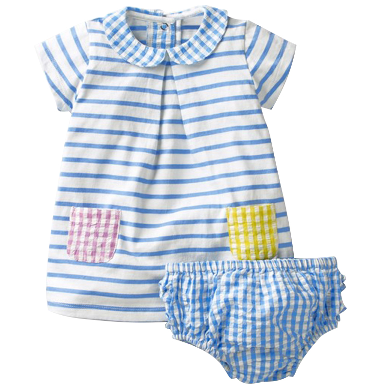 2018 Brand Baby Dress Summer Baby Girls Clothes+Underwear 100% Cotton Kids Baby Clothing For Newborns 6M-4T Birthday Party Dress
