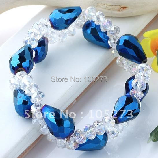 """Очаровательный! небесно-голубой хрустальный бисер плетение растягивающийся браслет 7,"""" Inchs модный браслет NF235"""