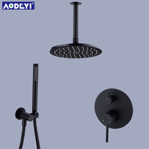 "Image 2 - Brass Black Bath Shower Faucets 8 12"" Rain Shower Head Bathroom Shower Set Diverter Mixer Valve  Shower System Wall Mounted"