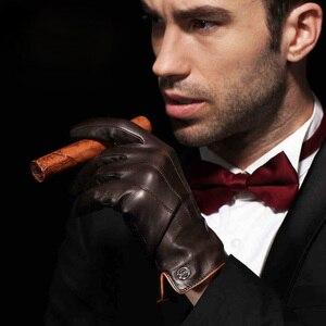Image 2 - Için en kaliteli hakiki deri eldiven erkekler termal kış dokunmatik ekran koyun derisi eldiven moda ince bilek sürüş EM011