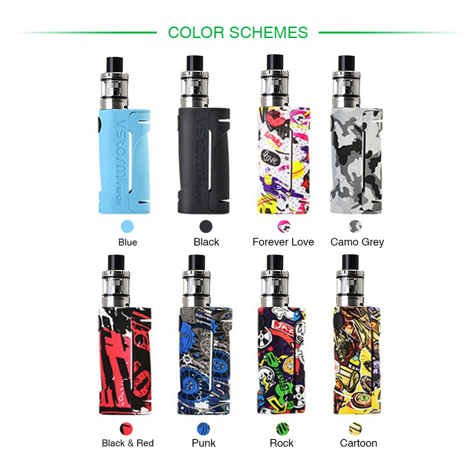 , Original 90W Vapor Storm ECO Kit with 2ml Vapor Storm Tank Powered By 18650 Battery Max 90W Output Vape Box Mod VS WYE Mod Vape