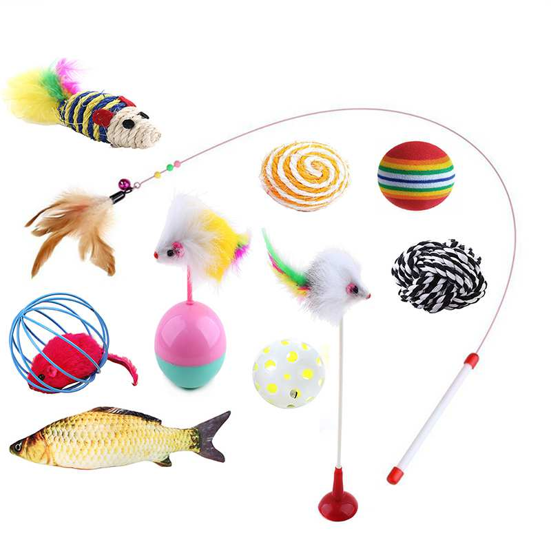 10pcs/lot Pet Cat Toy Set Feather Teaser W Catnip Toys Ball Rings Interesting Cats Interactive Products 2018 New