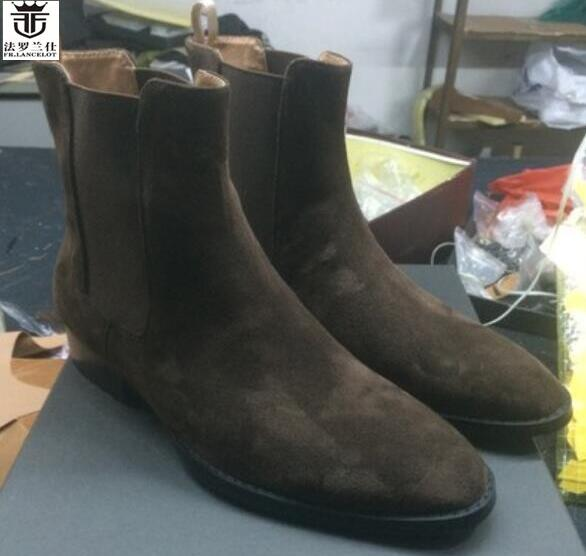 2018 FR.LANCELOT Brand Hot Sales Suede Leather Chelsea Boots Men Ankle Boots Slip On Top Quality Top High Men Shoes paddington on top