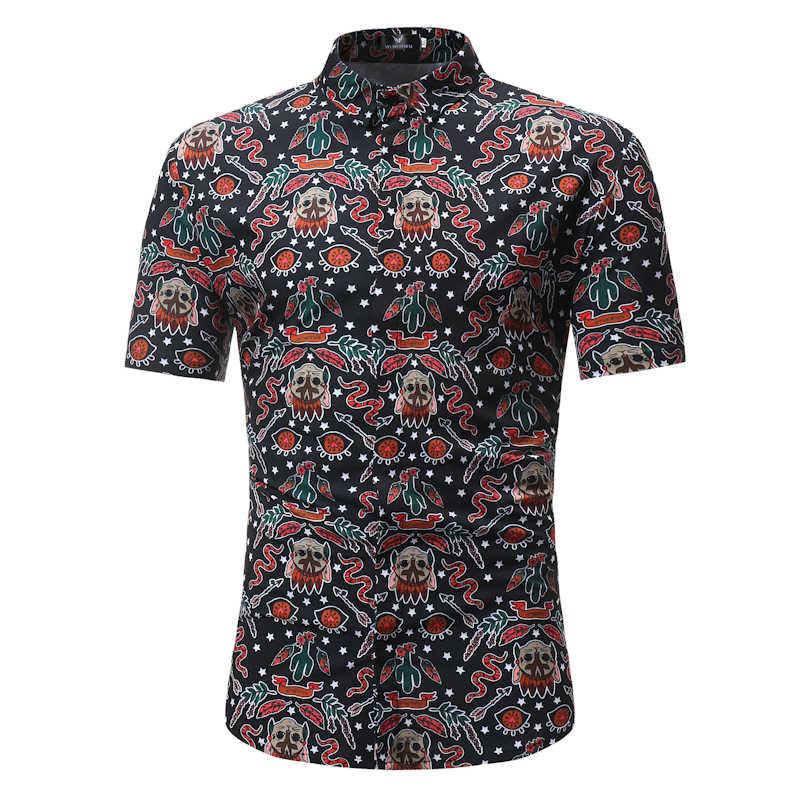 Лето 2018, Новое поступление, модные мужские рубашки с коротким рукавом, музыкальные мужские рубашки с принтом, повседневные мужские рубашки с цветочным принтом, Гавайские мужские топы