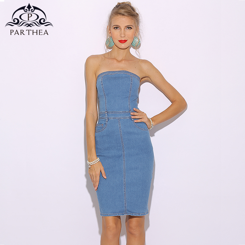 Detail Feedback Questions about Parthea Sexy Summer Dress 2018 Strapless Denim  Dress Women Bodycon Dress Blue Club Wear Party Dresses Ladies Mini Vestidos  ... b753dffcacf2