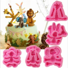 цена Sugarcraft Animal Elephant/Dog/Rabbit silicone mold fondant mold cake decorating tools chocolate gumpaste mold clay mould в интернет-магазинах