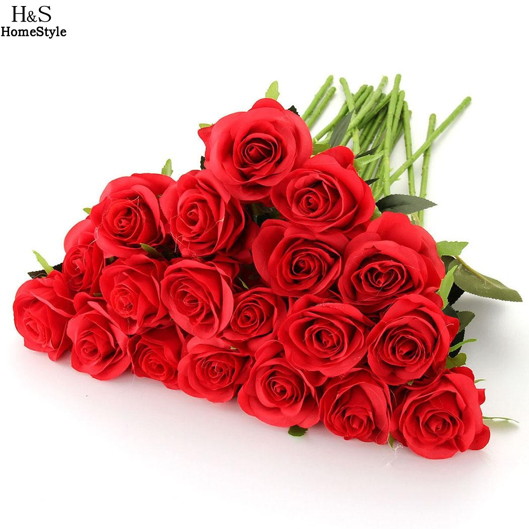wholesale 20pcslots red rose artificial flowers real looking faux roses diy wedding bouquets. Black Bedroom Furniture Sets. Home Design Ideas