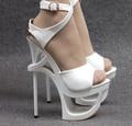 Mulheres sapatos de plataforma 16 cm branco preto verão sexy estilo gladiador sandálias de couro japanned saltos finos de ultra saltos altos recorte