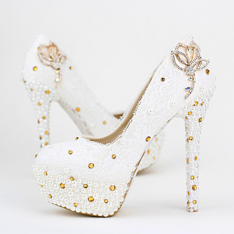 ФОТО White platforms lace pumps shoes for woman round toes super high thin heeled ladies gold crystal wedding party shoes TG862