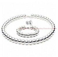 Venta al por mayor o de retial! moda hechos a mano puro cabezas de la joyería de acero inoxidable 316L 8 mm rosario collar de los granos pendientes y pulsera