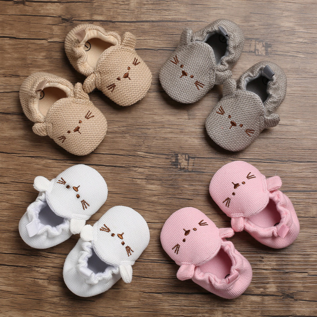 Wool Woven Toddler Prewalker Shoes Newborn Baby Moccasins Baby Girl Boy Shoes Soft Soled Non-slip Outsole Baby First Walkers