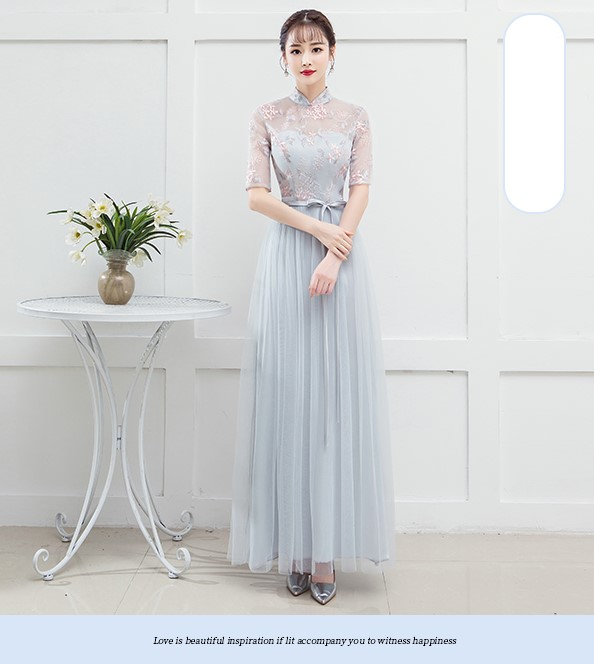 Blue Grey Colour Adult Women Bridesmaid Dresses  Wedding Guest Dress  Embroidery  Empire