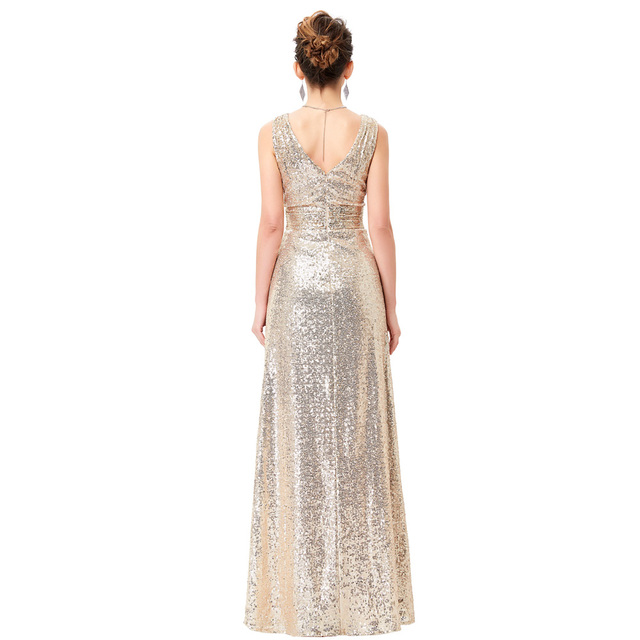 Luxury Gold Silver Long Sequin Evening Dress Pink Double V Neck Cheap Evening Gowns Sleeveless Prom Party Formal Dresses 0199