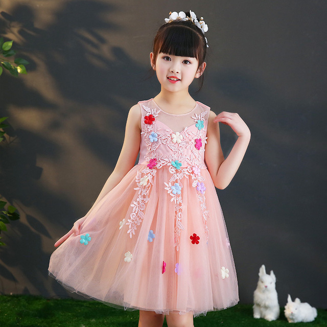 2019 New Kids Girls Embroidery Flower Wedding Party Dresses Teenage Girls Tulle Frocks Mesh Dress Children Princess Vestidos Q76
