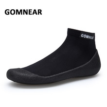 Фотография GOMNEAR Men Running Shoes Breathable Flat Soft Fitness Shoes Big Size Outdoor Socks Shoes Antiskid Slipon Sneakers Men Footwears