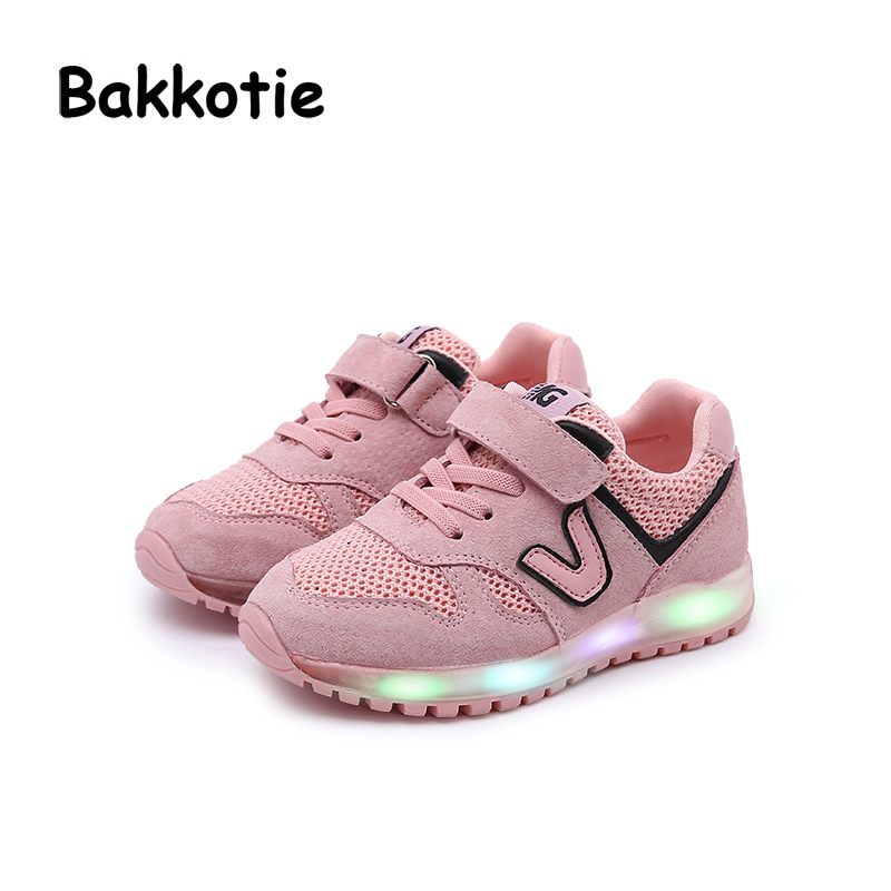 Bakkotie 2018 Spring Fashion Child Baby Boy Pigskin Sport LED Light Kid Brand Glowing Sneaker Breathable Leisure Girl Trainer bakkotie 2017 new autumn baby boy casual shoes khaki genuine leather black kid girl brand flat shoes soft sole breathable child