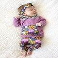 2016 Otoño Bebé Recién Nacido Ropa de La Muchacha Floral Niñas Infantil Bebes Con Capucha Top + Pant 2 unids Traje Traje de Bebé Sistemas de la ropa