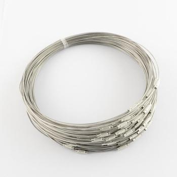 100 Uds. Collar de alambre de acero inoxidable hallazgos de joyería para hacer joyería DIY con cierre con rosca de latón 445x1mm