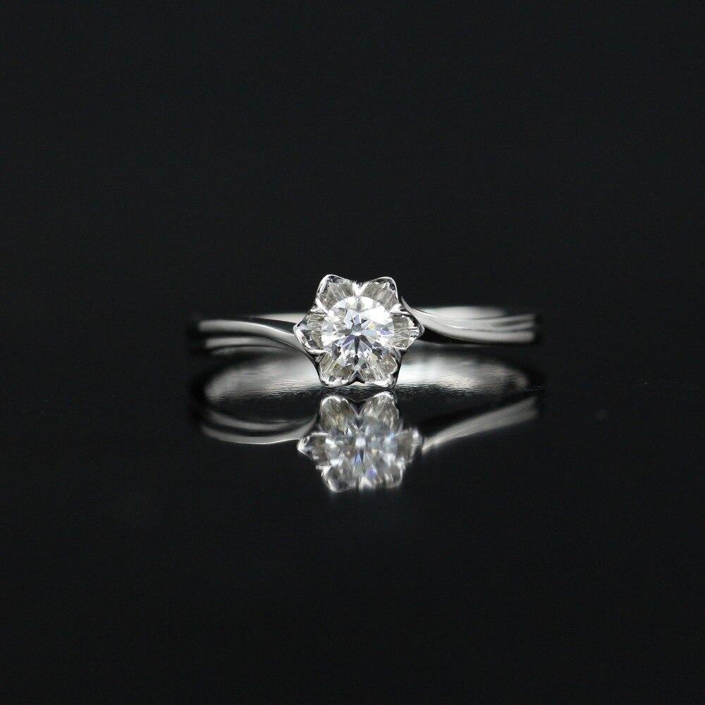 LASAMERO 0.2 CT DE/SI anneau DE diamant naturel Floral moderne coupe ronde pour les femmes 18 k or blanc certifié bague DE mariage DE fiançailles