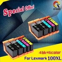 10pk Uyumlu Lexmark 100 105 108 XL mürekkep kartuşu için S305 S308 S405 S408 S505 S508 S605 S608 Yazıcı 2 takım + 2bk