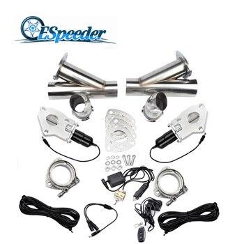 ESPEEDER 3.0 بوصة الفولاذ المقاوم للصدأ العادم انقطاع النازل Catback مجموعة صمامات مع جهاز التحكم عن بعد مفتاح يدوي قطع الأنابيب