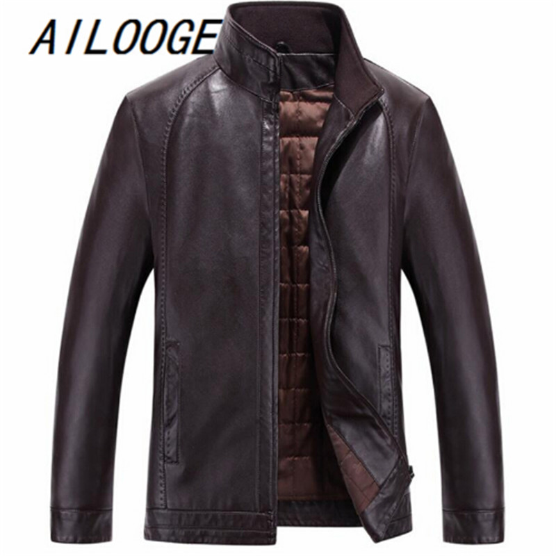 Nan Xi Wang Winter Leather Jacket Men Tand Collar casaco masculino Solid Pockets Fitness jaqueta de couro Male Leather Jacket