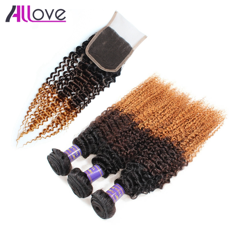 Allove Hair Ombre Kinky Curly Hair Weave 3 Piece Peruvian Ombre Hair Bundles With Closure 1B/4/30# Remy Human Hair Weave Bundles