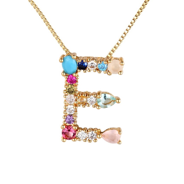 Hot Sale Gold Color Initial CZ Necklace Charm Letter Necklace Name Jewelry For Women Accessories Girlfriend Best Gift 6